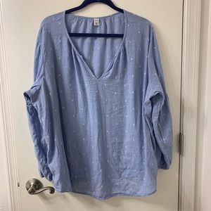 Old Navy Peasant Style Blue Long Slv Blouse SXXL